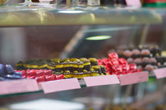 Variety of baeutiful candies in shop Royalty Free Stock Image