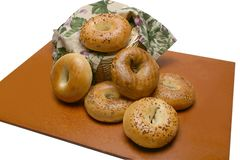 Variety of Bagels in Basket royalty free stock image