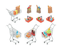 Variety of Bags and Trolleys in Supermarket. Royalty Free Stock Photos