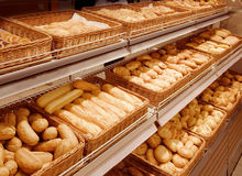 Variety of baked products at a supermarket stock photography
