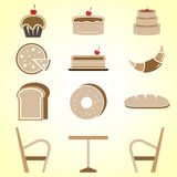 Variety of bakery color icons in coffee shop Stock Photography