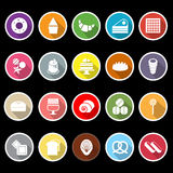Variety bakery flat icons with long shadow vector illustration