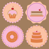 Variety of bakery icon color badges Stock Photos