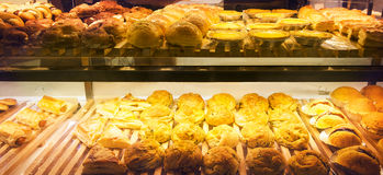 Variety of bakery products on the shelf Stock Photo