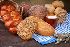 Variety of baking products and milk cup Royalty Free Stock Images