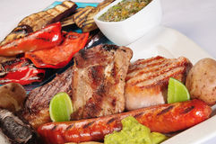 Variety of barbecued meats. Royalty Free Stock Image