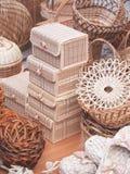 Variety of basketry handmade, decorative handicrafts, vertical Stock Image