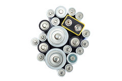 Variety of batteries viewed from above Royalty Free Stock Photos