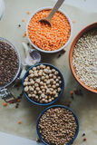 Variety of bean seeds in a bowl. On rustic background. Variety of bean seeds in a bowl Royalty Free Stock Photography
