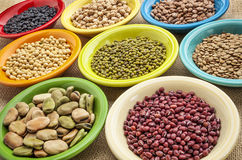 Variety of beans in bowls Royalty Free Stock Image