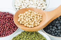 Variety beans in bowls and wooden soup spoon Royalty Free Stock Image