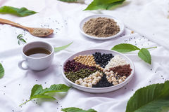 Variety of beans. Natural cereal flour. Arrange green, red, black soybean. Glutinous rice, brown rice, white beans, Black Sesame, Royalty Free Stock Images
