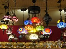 variety of beautiful multi-colored lanterns stock photography