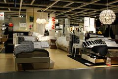 A variety of beds on display in an Ikea store in Japan. Stock Photography