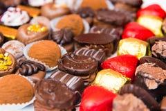 Variety of belgian chocolate pralines Stock Photo