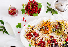 Variety of Belgian wafers with berrie. S, chocolate and syrup stock photography