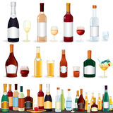 Variety Beverages. Variety popular alcohol Beverage Bottles from Bar, vector clip art isolated on white Royalty Free Stock Image
