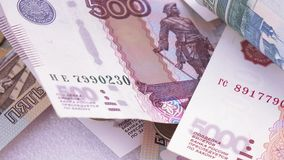 Variety of bills Russian rubles stock footage