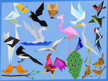 A variety of birds vector. Poultry on the basis of geometric shapes Stock Image