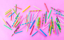 Variety of birthday candles Royalty Free Stock Images