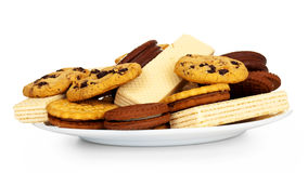 Variety of biscuit on plate isolated Royalty Free Stock Photography