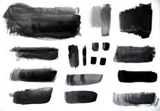 Variety of Black Strokes Stock Photo