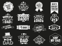 The variety of black and white dad signs. Isolated Happy fathers day quotes on the black background. Daddy. Congratulation label, badge vector collection royalty free illustration