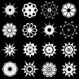 Variety of black and white flower designs Royalty Free Stock Photography