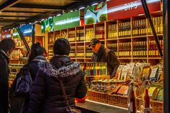 Variety of bottles on a christmas market in Salzburg, Austria royalty free stock image