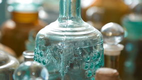 Variety of Bottles for Everyday Life of Inhabitants of the 19Th Century. Variety of Bottles Used in the Drugstore Business and Everyday Life of Inhabitants of stock video footage