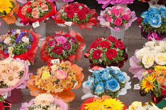 Variety of bouquets of flowers Stock Photos