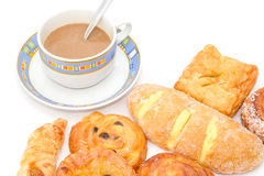 Variety of bread with coffee on white background Stock Photo