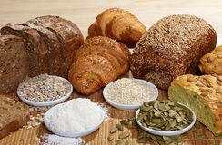 Variety of bread and ingredients Stock Photo