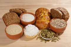 Variety of bread and ingredients Royalty Free Stock Photos