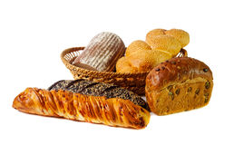 Variety of bread. Selective focus. Variety of bread isolated on white. Selective focus Stock Photo