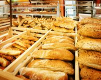 Variety of bread in a supermarket Royalty Free Stock Photo