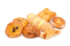 Variety of bread on white background Royalty Free Stock Image