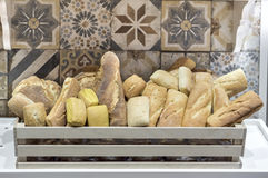 Variety of breads in the basket Stock Photos