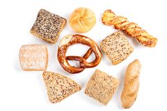 Variety of breads isolated on white Stock Images
