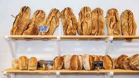 Variety of breads on the shelves Royalty Free Stock Photo