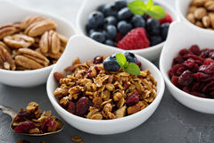 Variety of breakfast food in small bowls Stock Image