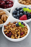Variety of breakfast food in small bowls Royalty Free Stock Photos