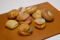 Variety Of Breakfast Sandwiches & Bagels Stock Photography