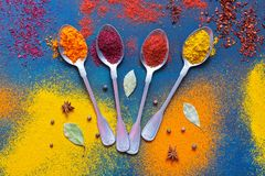 A variety of bright spices with spoons on a blue background. View from above. A variety of bright spices with spoons on a blue background. View from above Royalty Free Stock Photography