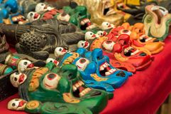 Variety of Buddhist ritual masks Stock Images