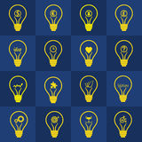 Variety of business  idea light bulb set. Set of light bulb vectors  contain different idea , Designt for creative thinking, inspiration,  inventive mind Stock Images