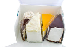 Variety cake in the blue box Royalty Free Stock Photography