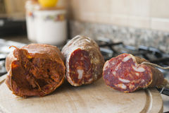 Variety of calabrian sausages: nduja and soppressata Stock Images