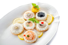 Variety canapes Stock Image