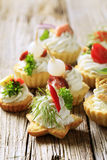 Variety of canapes. Variety of pastry-based canapes with various toppings Stock Photography